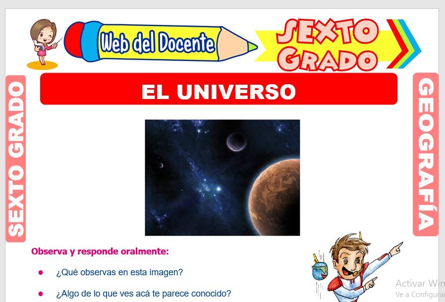 Ficha de El Universo para Sexto Grado de Primaria