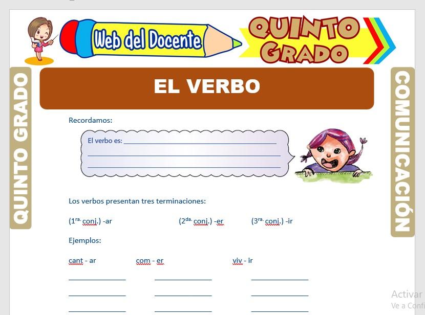 Ficha de El Verbo y sus Accidentes Gramaticales para Quinto Grado de Primaria