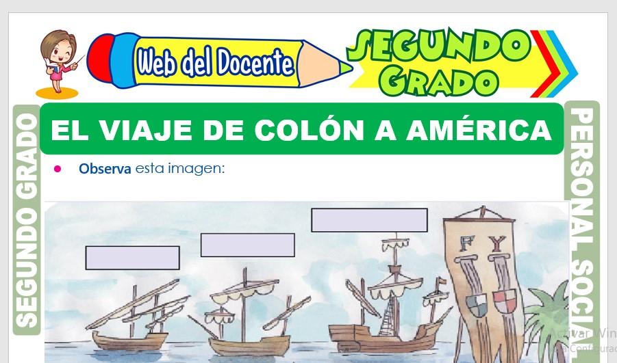 Ficha de El Viaje de Colón a América para Segundo Grado de Primaria
