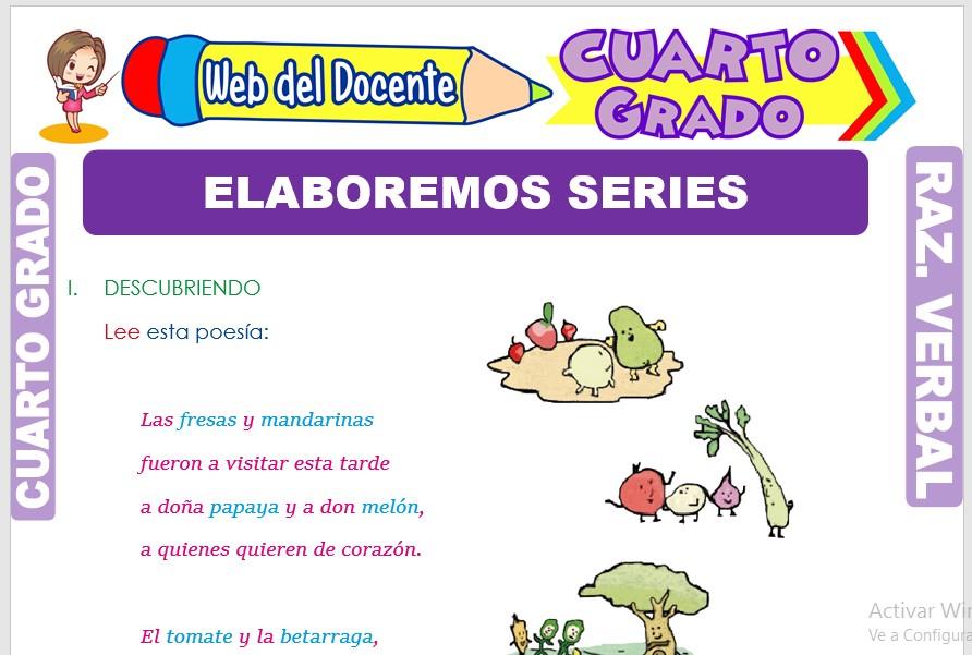 Ficha de Elaboremos Series para Cuarto Grado de Primaria