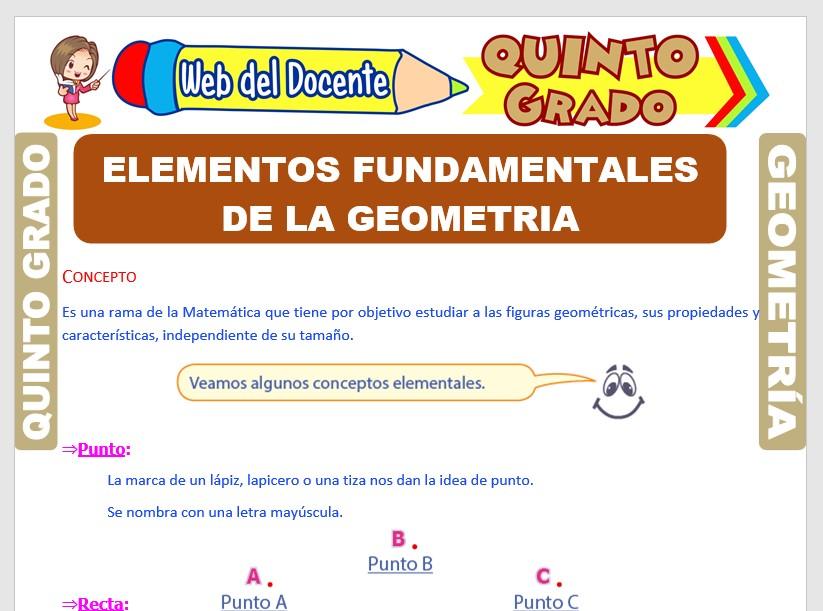 Ficha de Elementos Fundamentales de la Geometría para Quinto Grado de Primaria