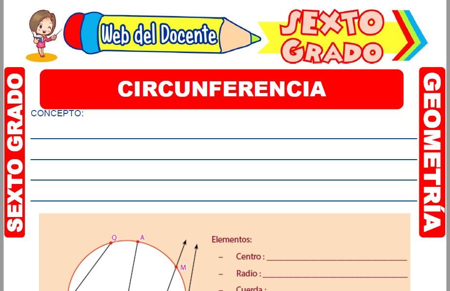 Muestra de la Ficha de Elementos de la Circunferencia para Sexto Grado de Primaria