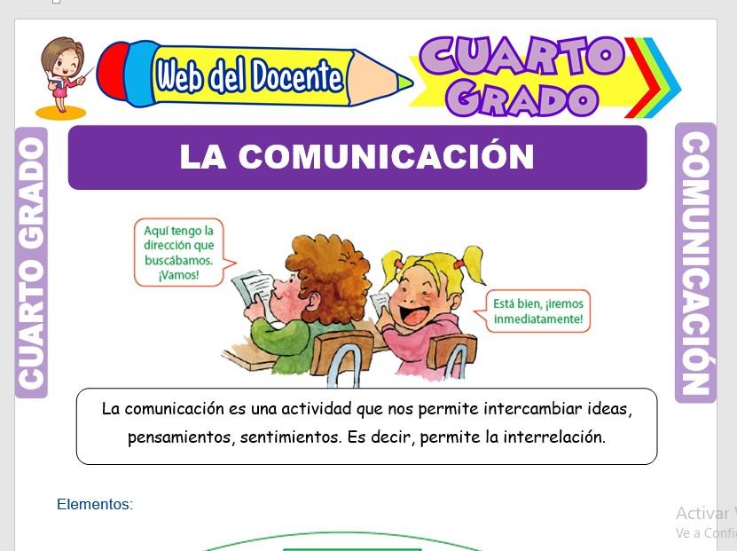 Ficha de La Comunicación y sus Elementos para Cuarto Grado de Primaria
