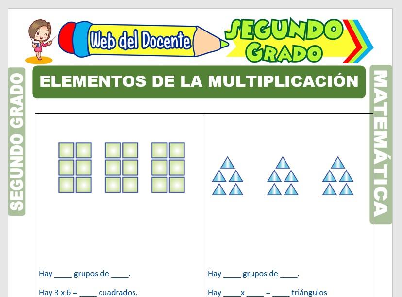 Ficha de Elementos de la Multiplicación para Segundo Grado de Primaria