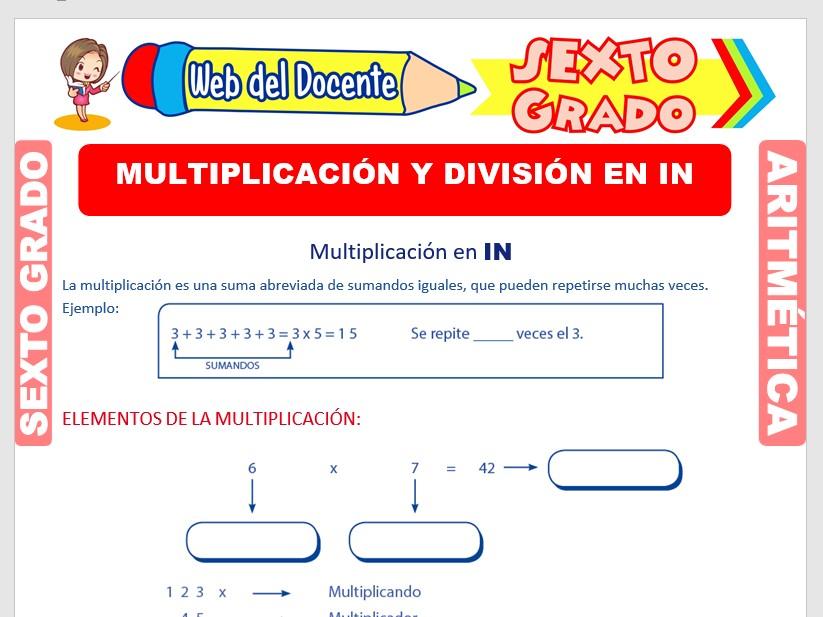 Ficha de Elementos y Propiedades de la Multiplicación y División para Sexto Grado de Primaria