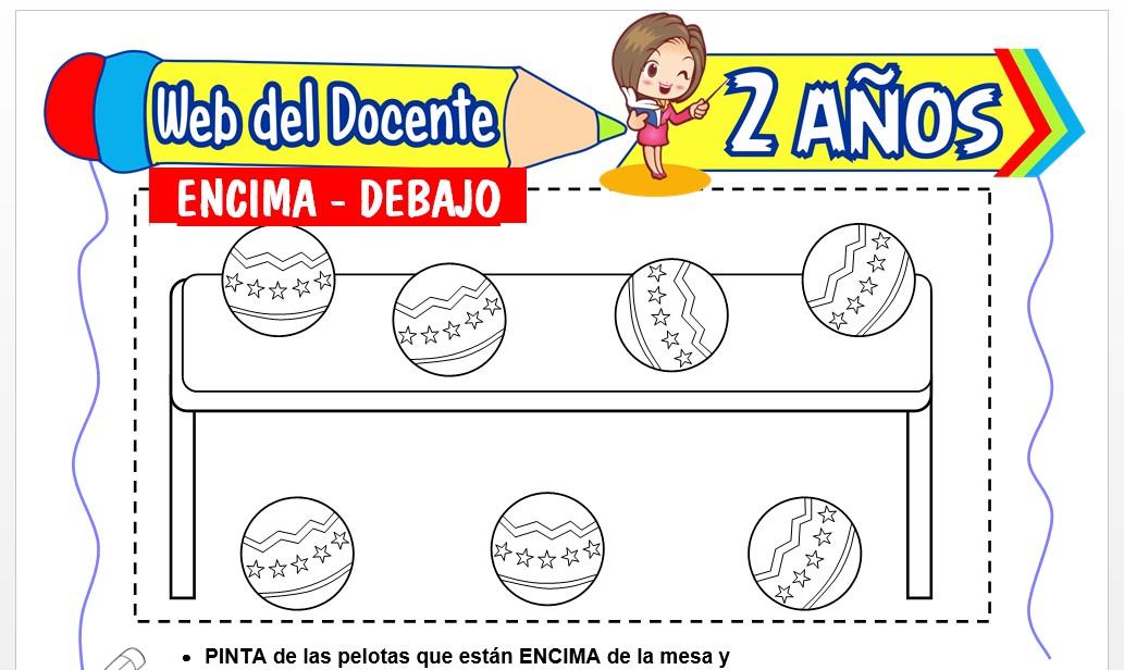 Ficha de Encima y Debajo para Niños de 2 Años