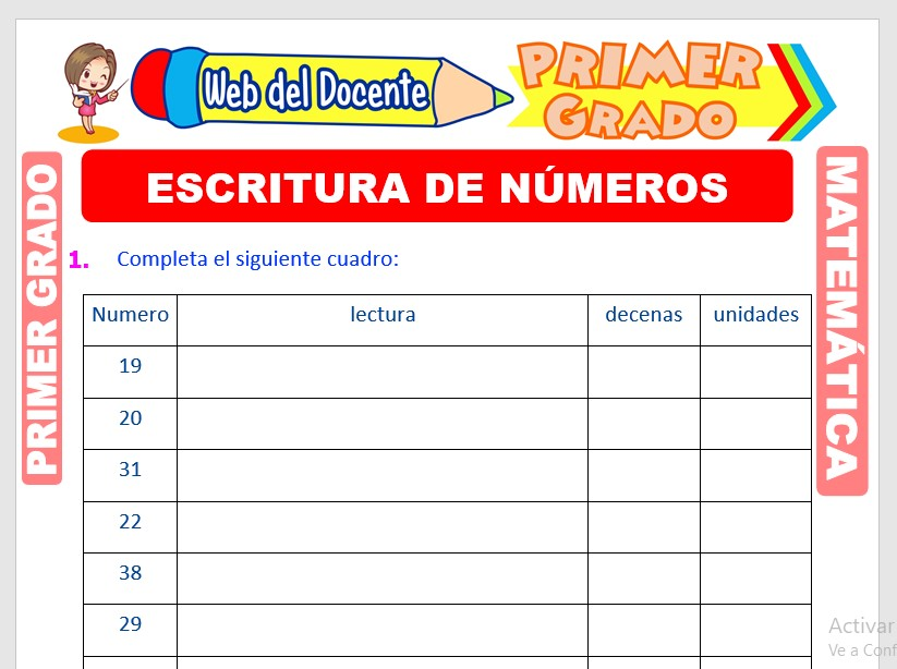 Ficha de Escritura de Números para Primer Grado de Primaria