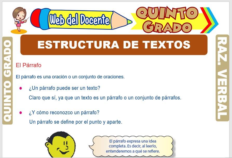 Ficha de Estructura de Textos para Quinto Grado de Primaria