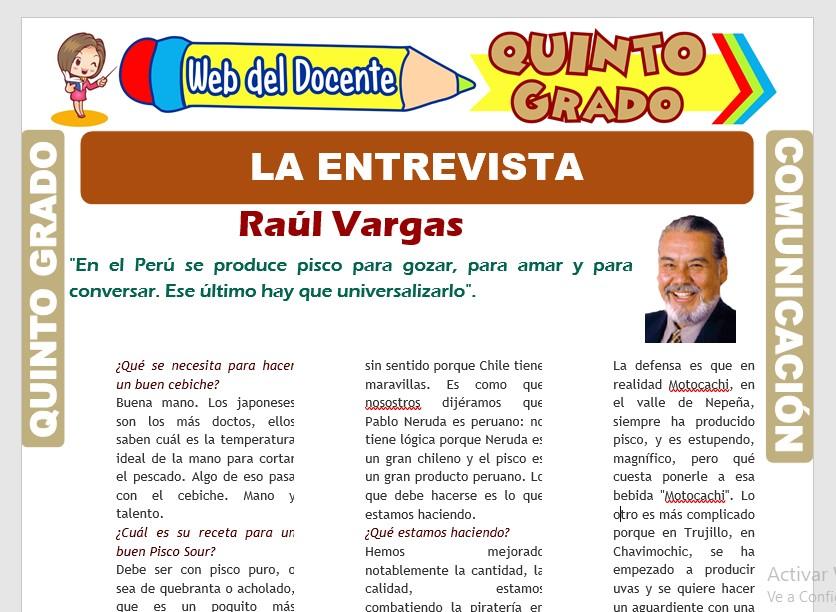 Ficha de Estructura de la Entrevista para Quinto Grado de Primaria