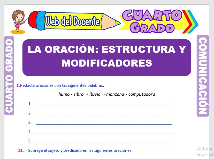 Ficha de Estructura de las Oraciones para Cuarto Grado de Primaria