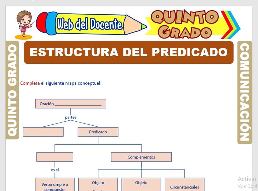 Ficha de Estructura del Predicado para Quinto Grado de Primaria