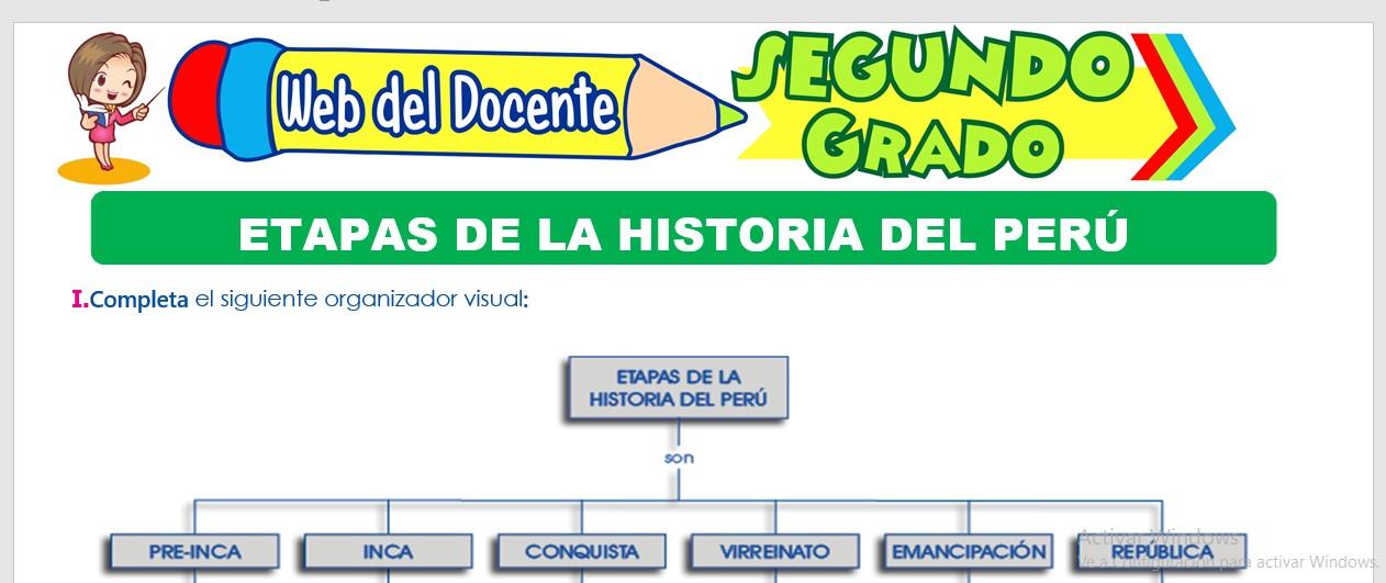 Ficha de Etapas de la Historia del Perú para Segundo Grado de Primaria