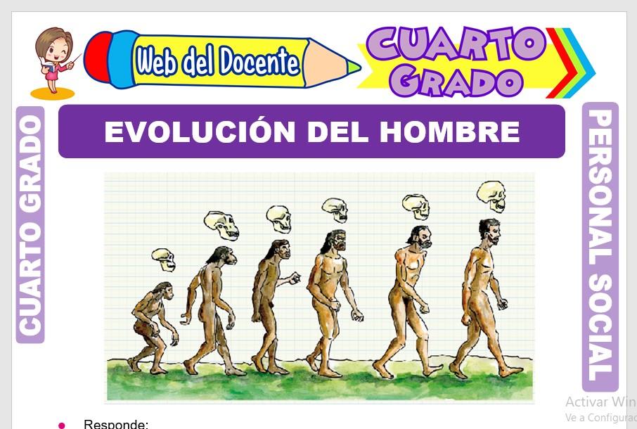 Ficha de Evolución del Hombre para Cuarto Grado de Primaria