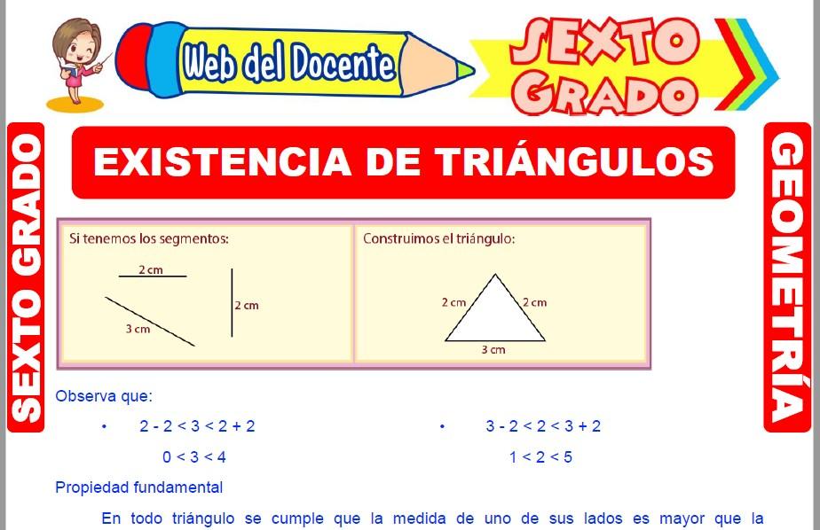 Muestra de la Ficha de Existencia de Triángulos para Sexto Grado de Primaria