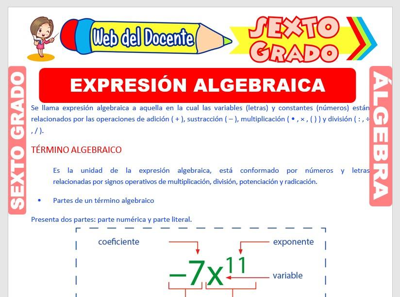 Ficha de Expresión Algebraica para Sexto Grado de Primaria