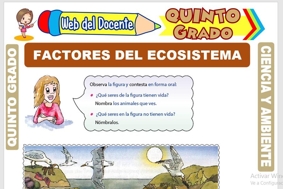 Ficha de Factores del Ecosistema para Quinto Grado de Primaria