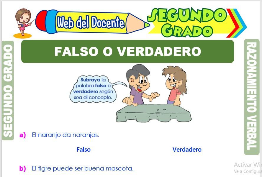 Ficha de Falso o Verdadero para Segundo Grado de Primaria