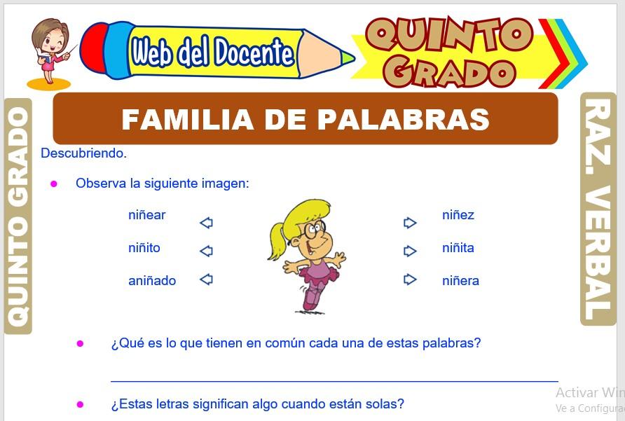 Ficha de Familia de Palabras para Quinto Grado de Primaria