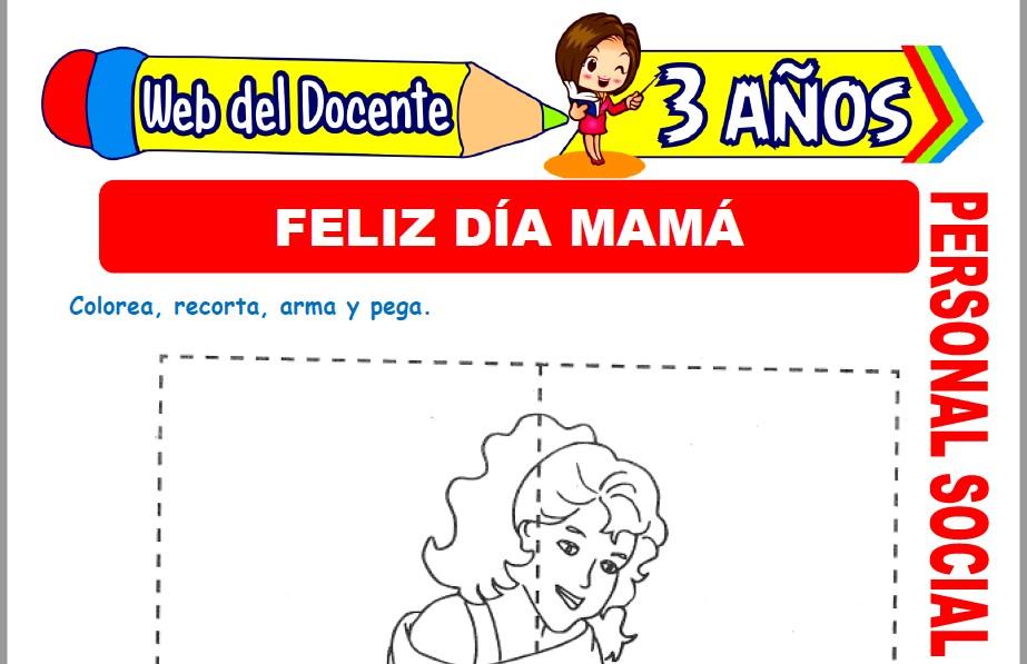 Muestra de la Ficha de Feliz Día Mamá para Niños de 3 Años