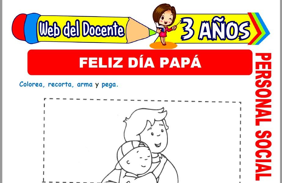 Muestra de la Ficha de Feliz Día Papá para Niños de 3 Años