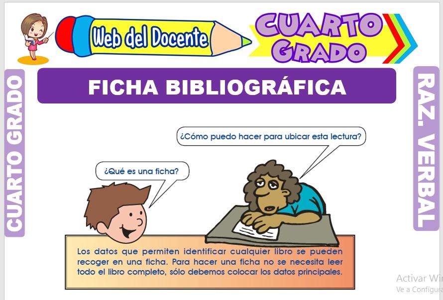 Ficha de Ficha Bibliográfica para Cuarto Grado de Primaria