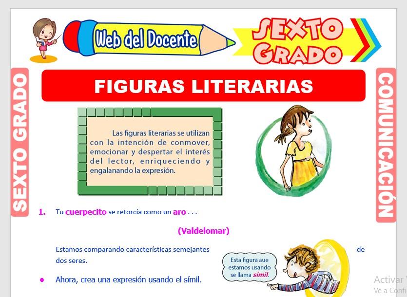 Ficha de Figuras Literarias para Sexto Grado de Primaria