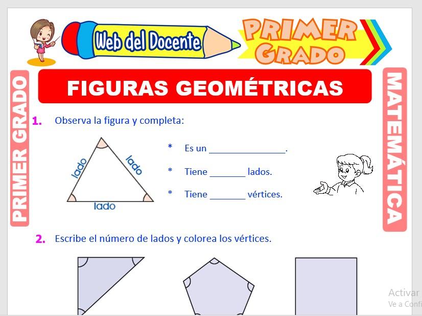 Ficha de Figuras y Sólidos Geométricas para Primer Grado de Primaria
