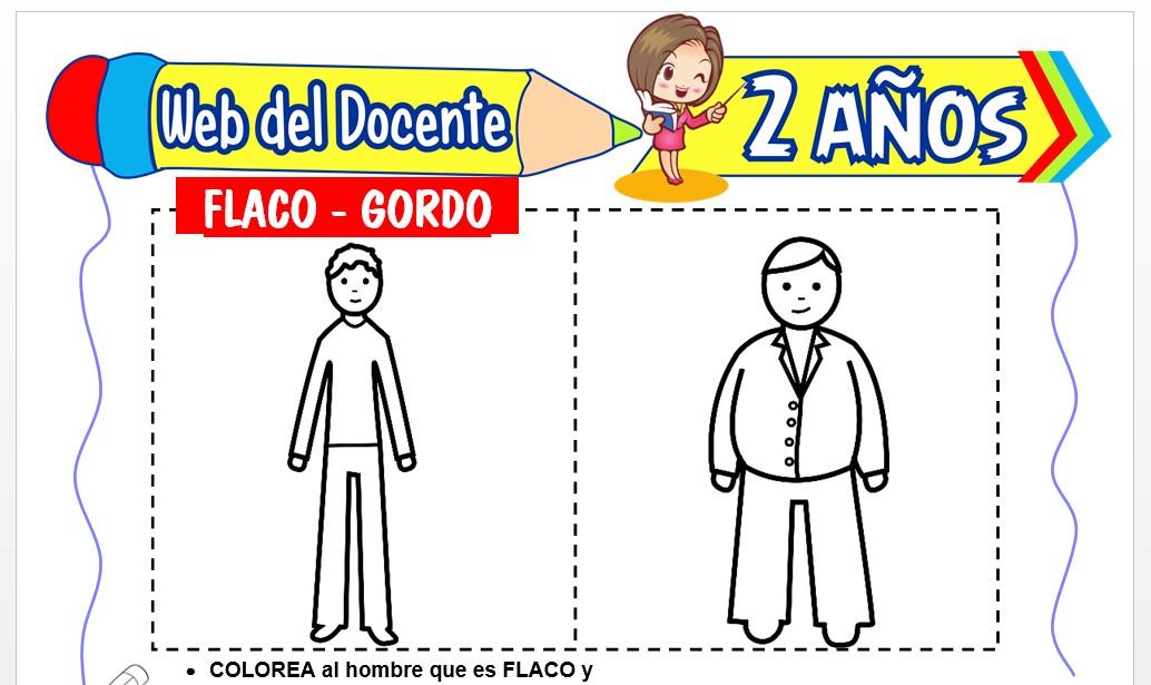 Ficha de Flaco y Gordo para Niños de 2 Años