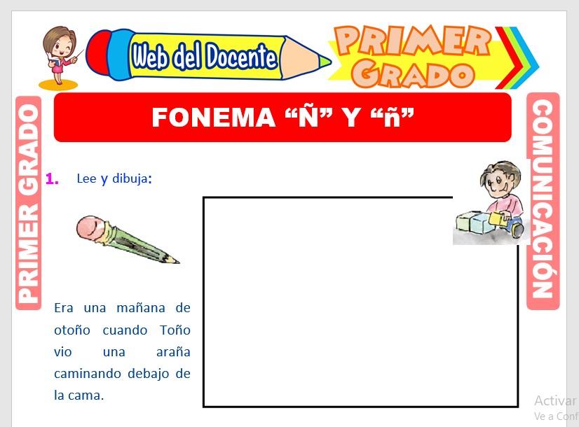 Ficha de Fonema Ñ para Primero de Primaria