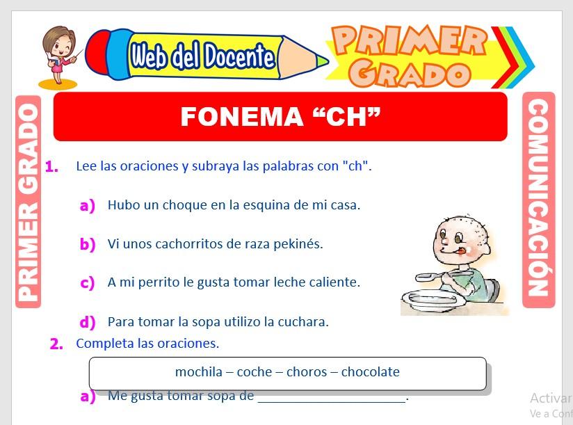 Ficha de Fonema CH para Primero de Primaria