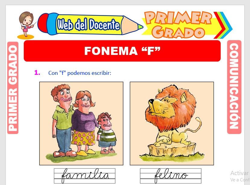 Ficha de Fonema F para Primero de Primaria