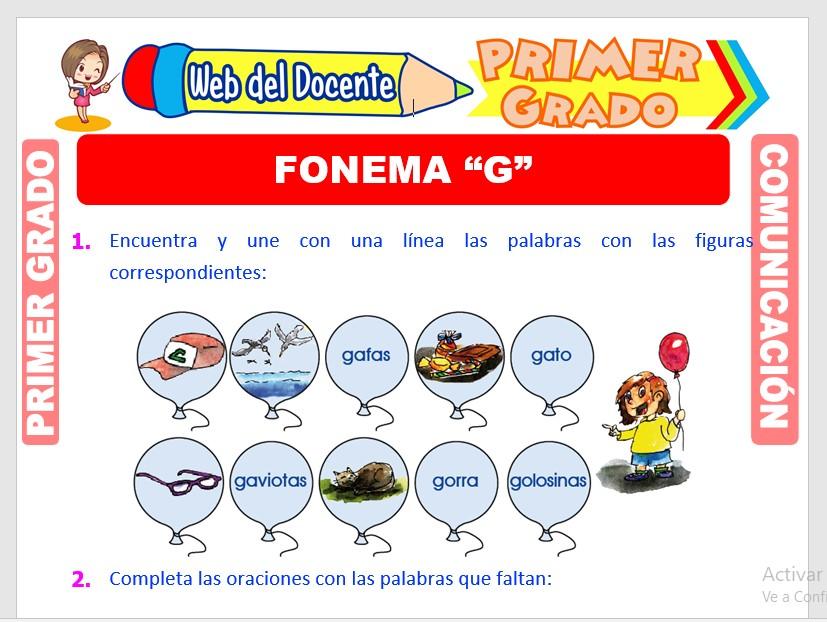 Ficha de Fonema G para Primero de Primaria