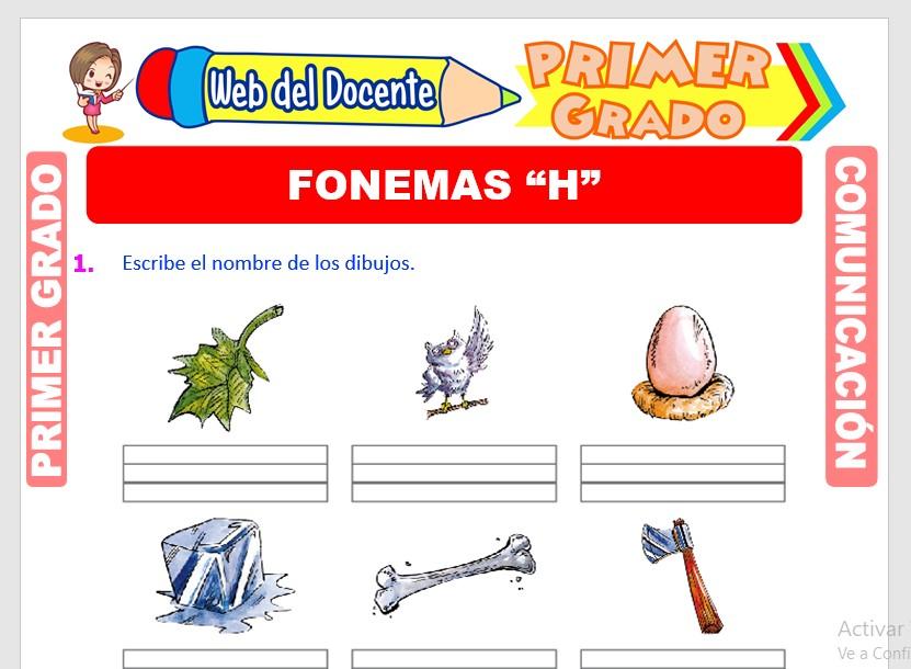 Ficha de Fonema H para Primero de Primaria
