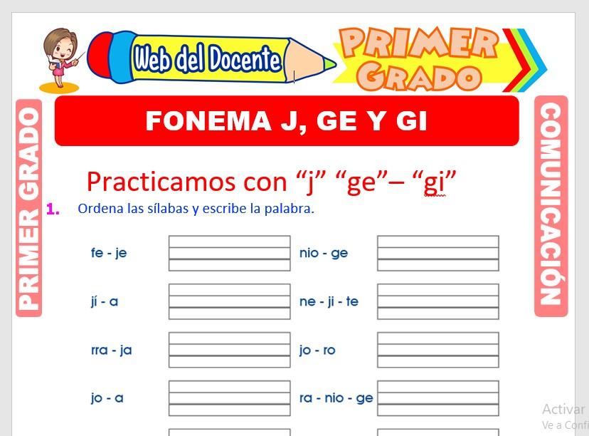 Ficha de Fonema J, Ge y Gi para Primero de Primaria