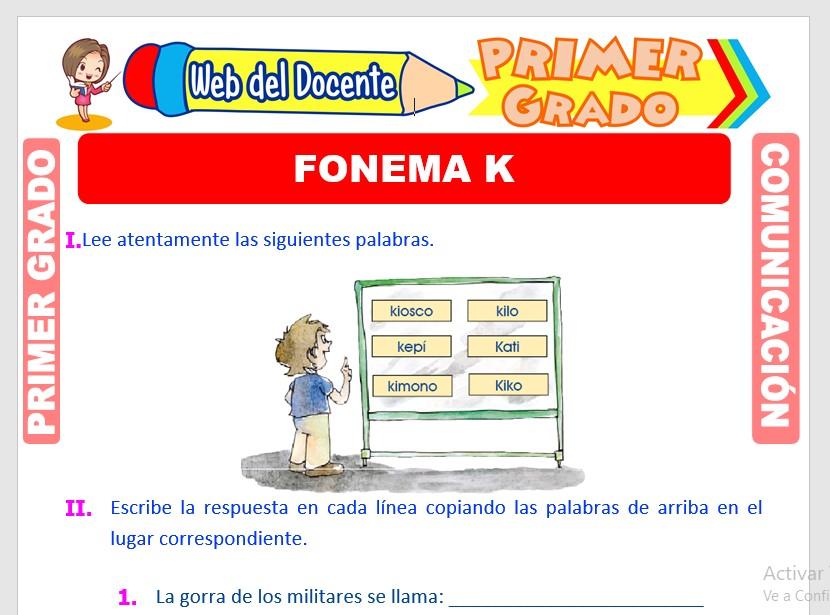 Ficha de Fonema K para Primero de Primaria