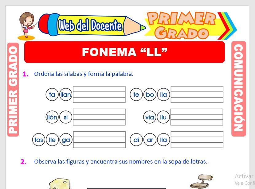 Ficha de Fonema LL para Primero de Primaria