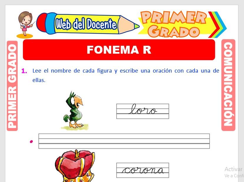 Ficha de Fonema R para Primero de Primaria