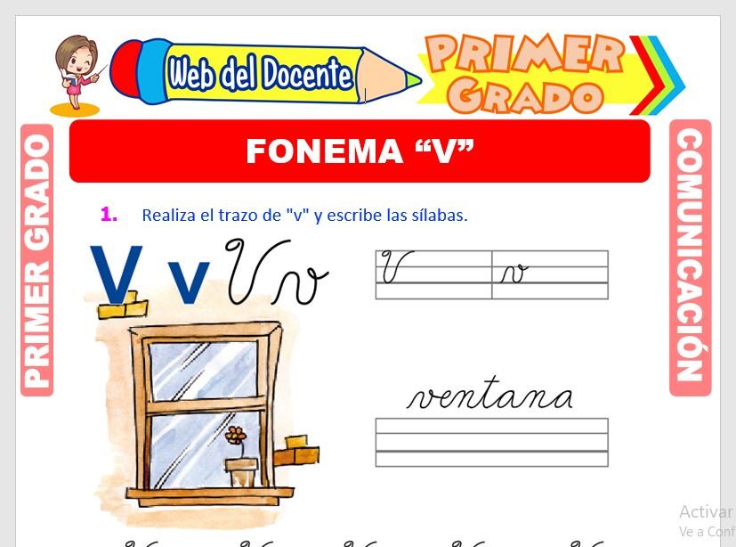 Ficha de Fonema V para Primero de Primaria