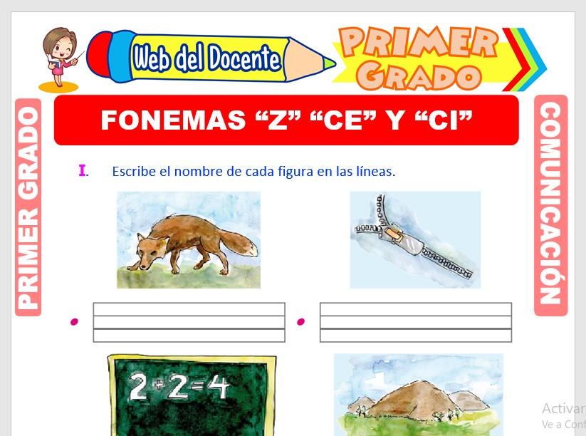 icha de Fonema Z, Ce y Ci para Primero de Primari