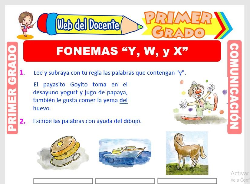 Ficha de Fonemas Y, W y X para Primero de Primaria