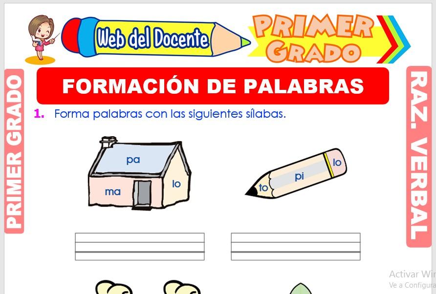 Ficha de Formación de Palabras para Primer Grado de Primaria