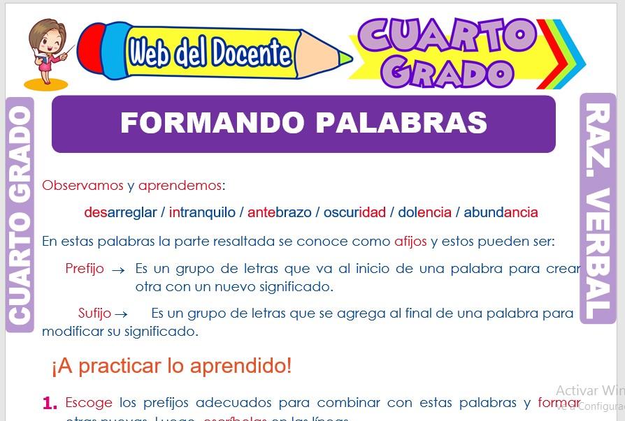 Ficha de Formando Palabras para Cuarto Grado de Primaria