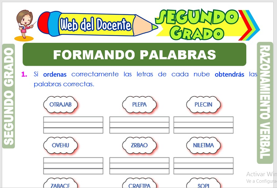 Ficha de Formando Palabras para Segundo Grado de Primaria