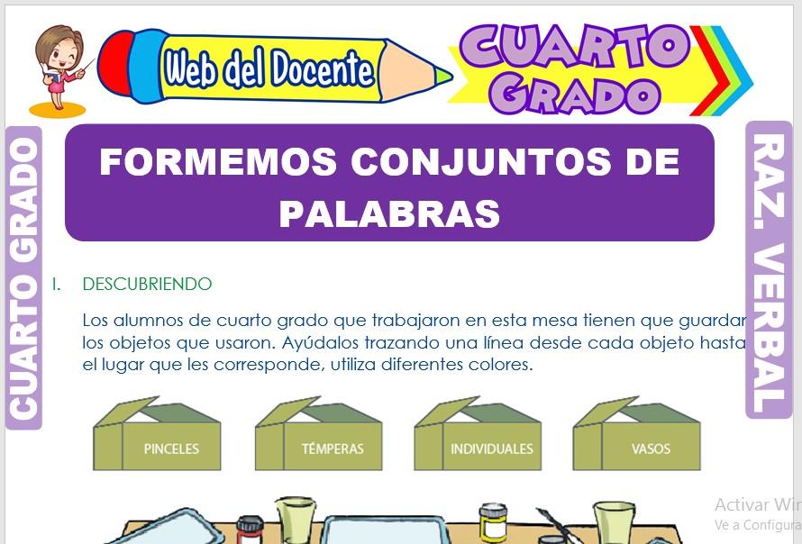 Ficha de Formemos Conjuntos de Palabras para Cuarto Grado de Primaria
