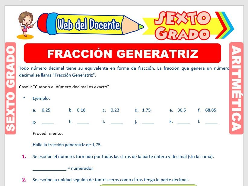 Ficha de Fracción Generatriz para Sexto Grado de Primaria