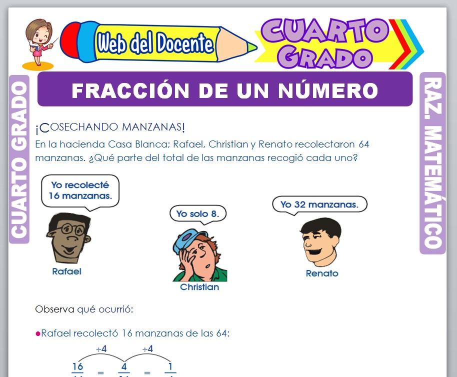 Ficha de Fracción de un Número para Cuarto Grado de Primaria