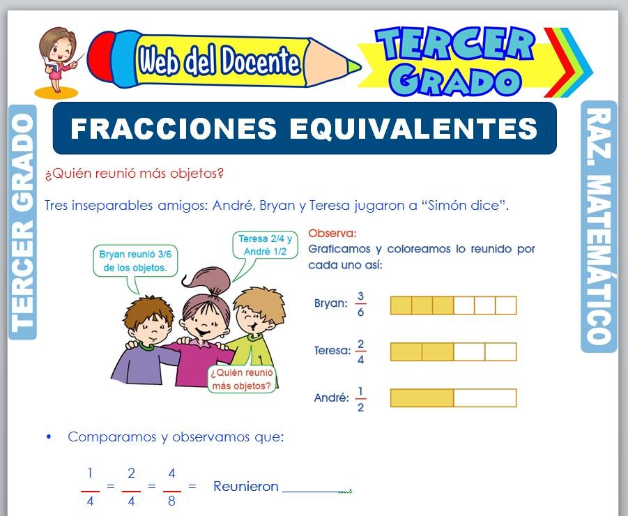 Ficha de Fracciones Equivalentes para Tercer Grado de Primaria