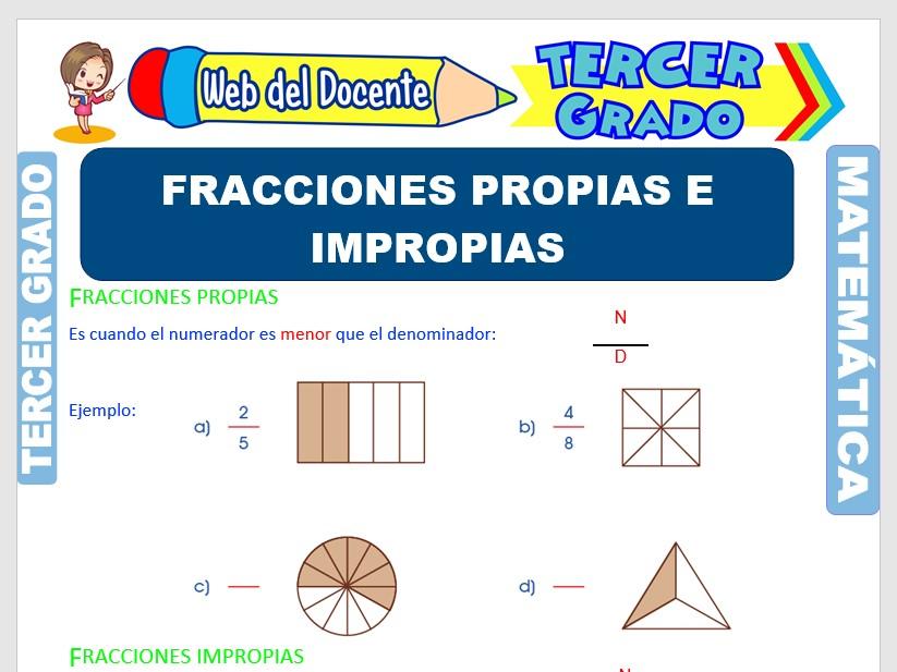 Ficha de Fracciones Propias e Impropias para Tercer Grado de Primaria