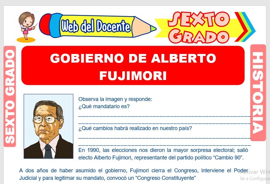 Ficha de Gobierno de Alberto Fujimori para Sexto Grado de Primaria