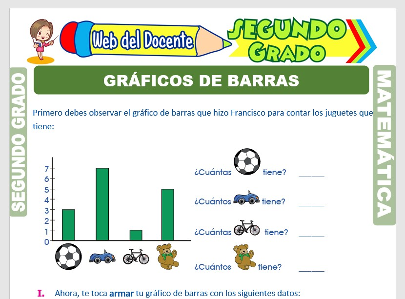 Ficha de Gráficos de Barras para Segundo Grado de Primaria